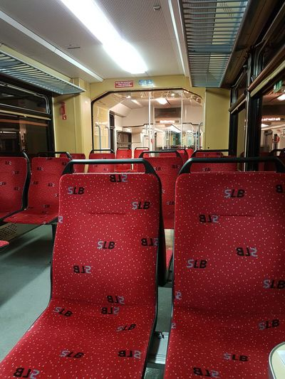 Indoors  No People Red Alone Train Anywhere But Here