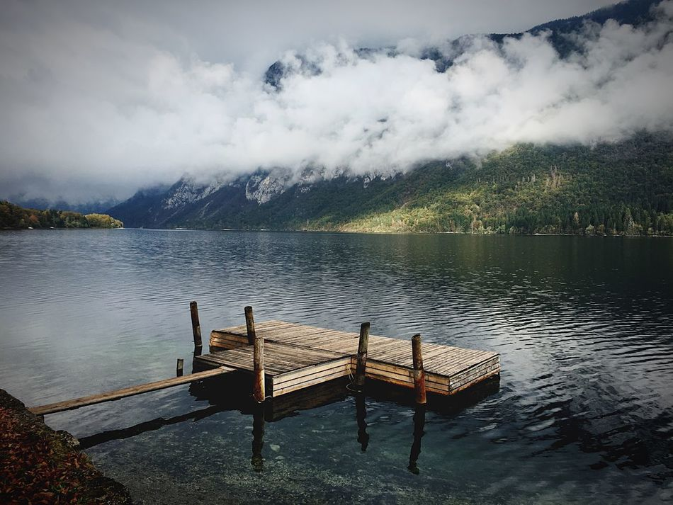 Water Nature Sky Lake Beauty In Nature Chair Mountain Bench Cloud - Sky Outdoors Day Scenics No People Tree Slovenia Slovenian Alps