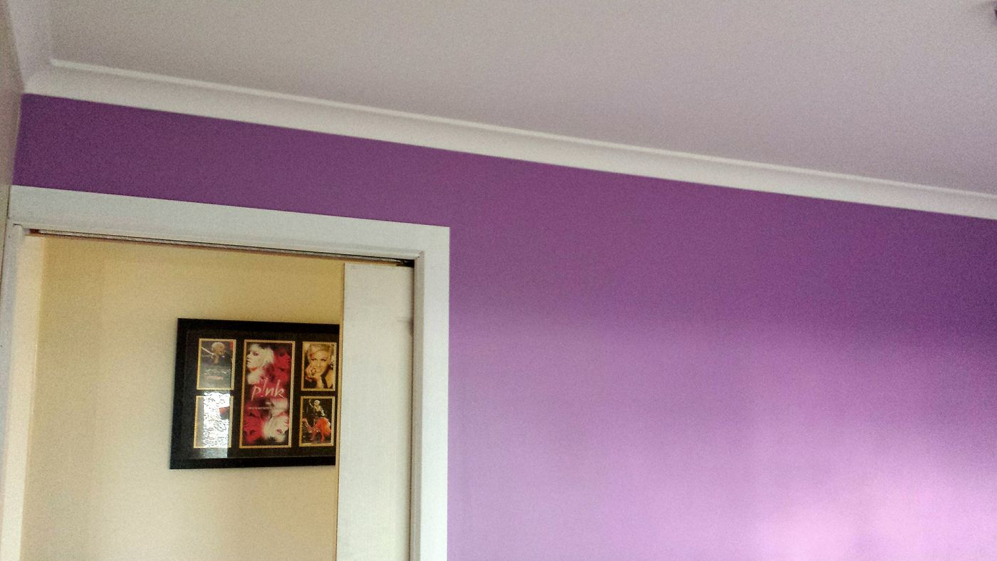 Painting purple walls🏡💜 Satisfying Work Perspectives An Eye For Detail Perks Of Being A Painter Wall Feature