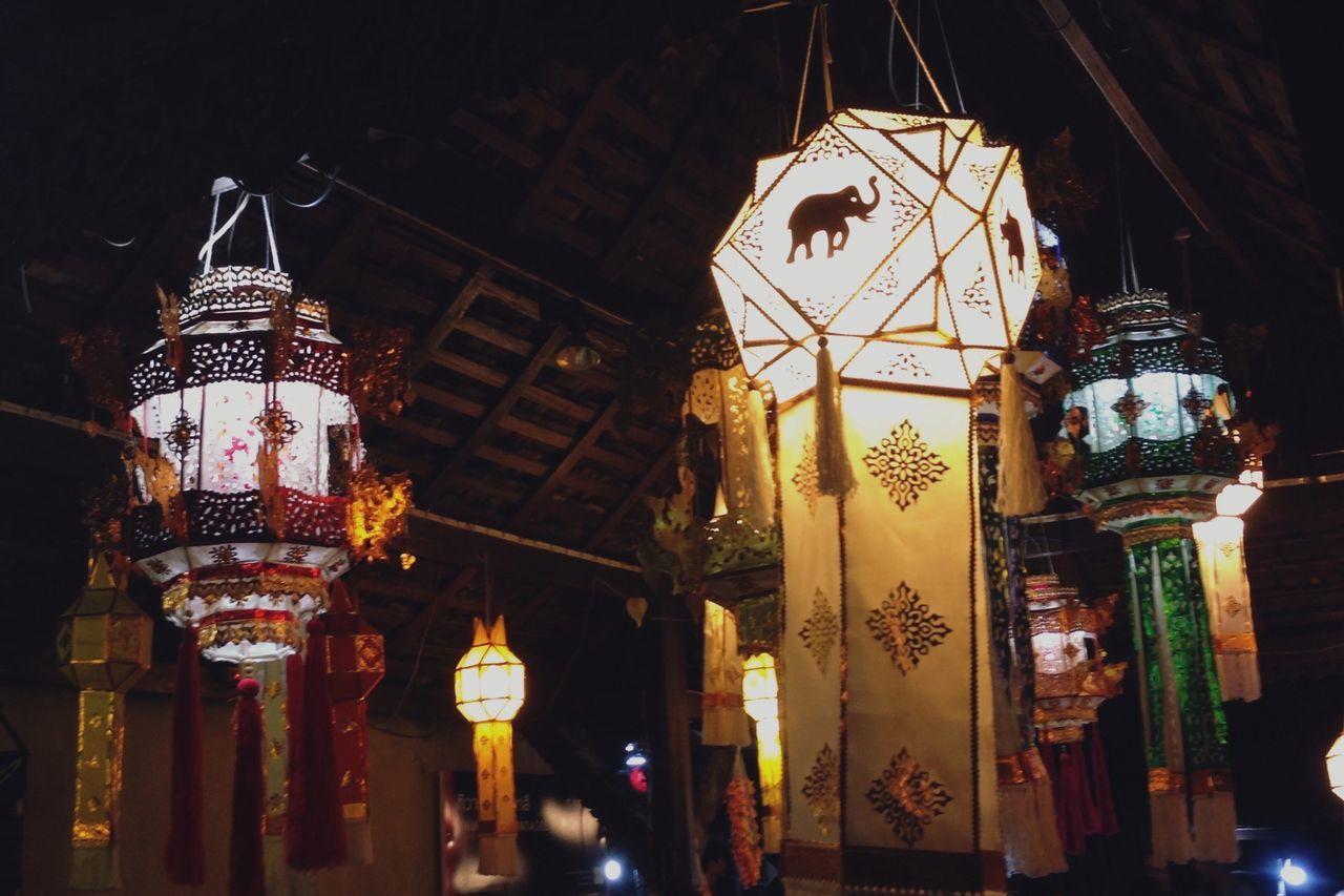 Vivid decorative style of Lampang art gallery Illuminated Hanging Lighting Equipment Low Angle View Lantern Night Architecture Built Structure Chinese Lantern No People Indoors  Paper Lantern Lampang | Thailand Tadaa Community