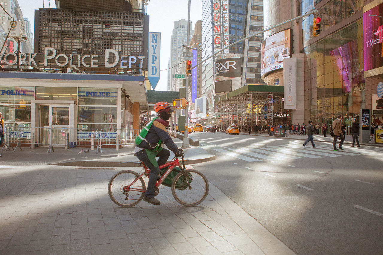 Bicycle Building Exterior City City Life City Street Cycling New York Street Times Square NYC Travel Destinations
