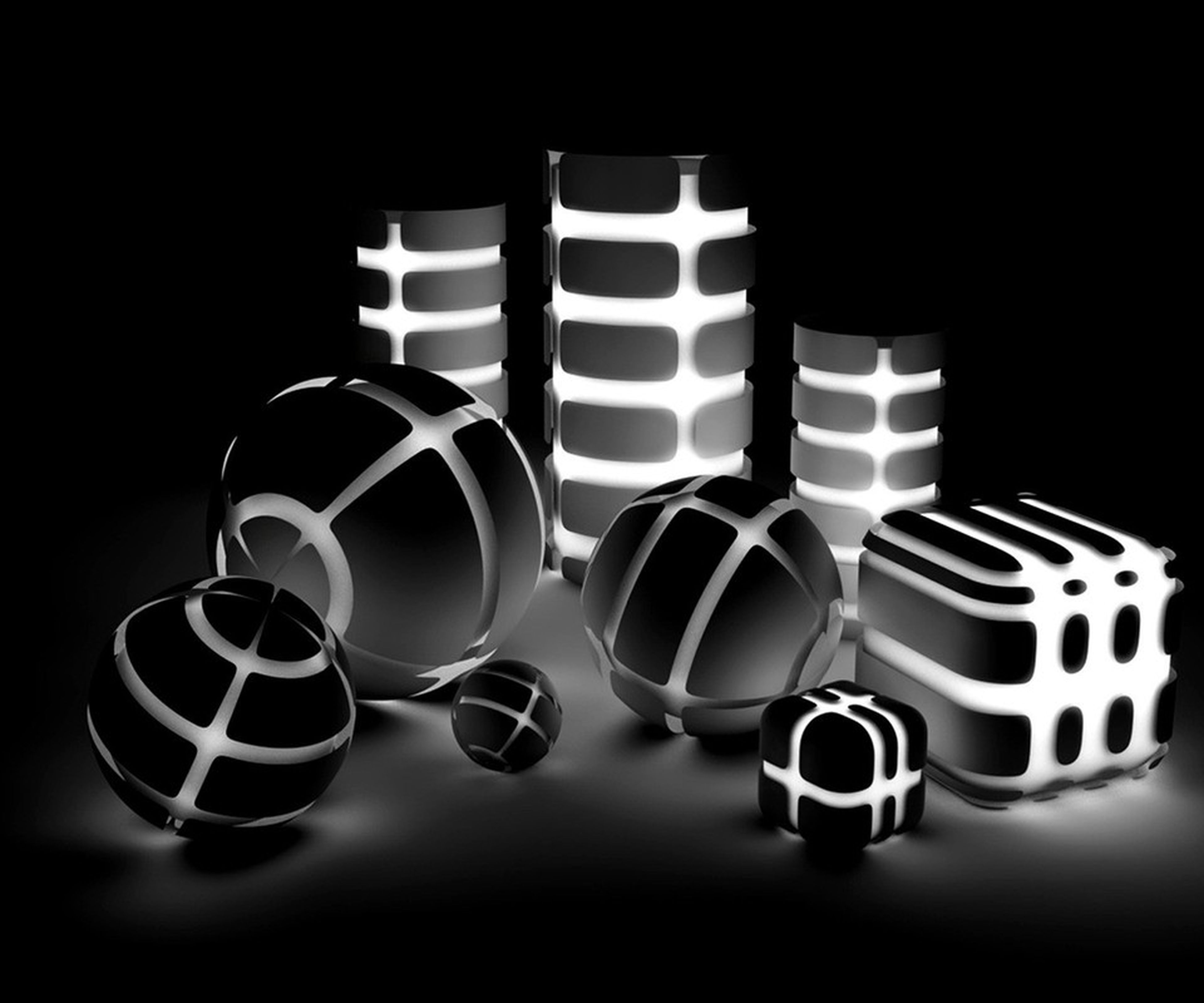 indoors, still life, large group of objects, in a row, close-up, arrangement, repetition, order, studio shot, circle, pattern, side by side, black background, no people, metal, table, shape, illuminated, lighting equipment, abundance