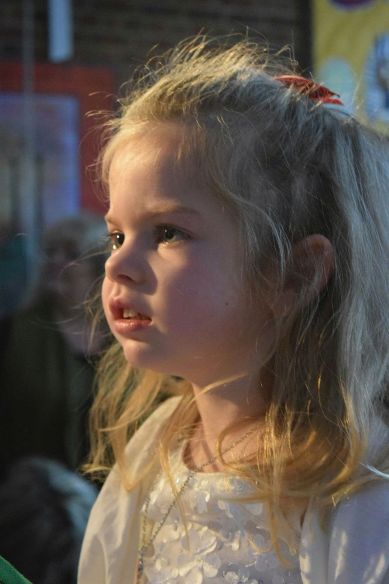 One Girl Only Headshot Child Blond Hair Side View One Person Close-up Girls Childhood People Children Only Real People Indoors  Human Body Part Day Serene Long Hair White Angel Christmas Nativity School Play Niece  Calm Cute