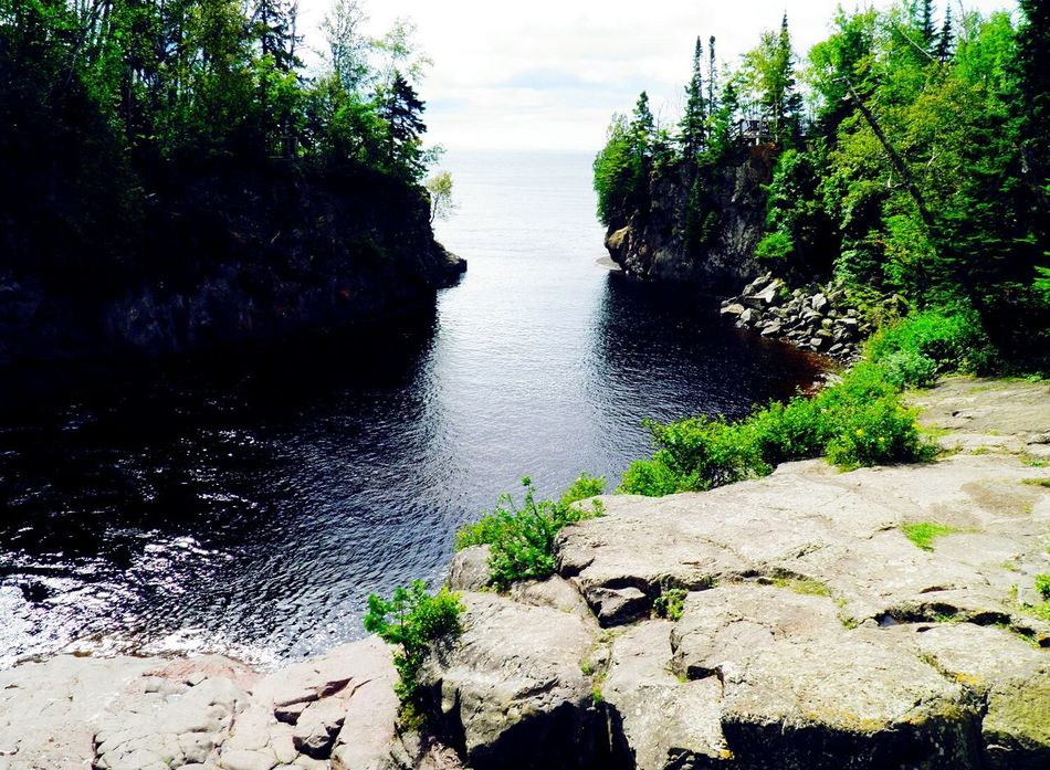 Rocks And Water Lake Superior Minnesota Nature Summer Views Temperance River From Above  Rocky Shore