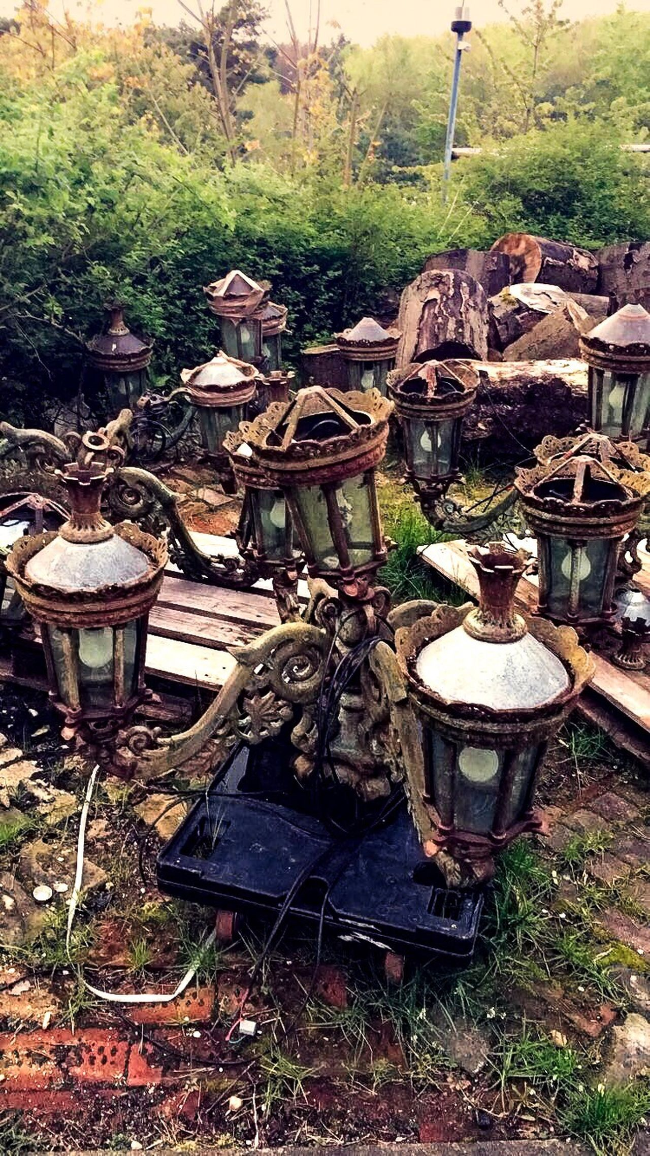 Day Outdoors Large Group Of Objects Nature No People Lamps Grass Discarded