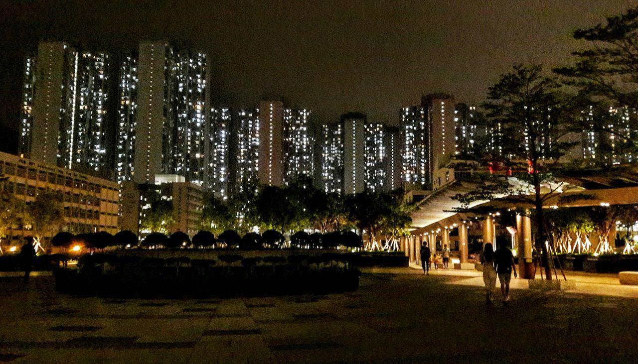 Night Illuminated Cityscapes Citylights Skyscraper Tseung Kwan O