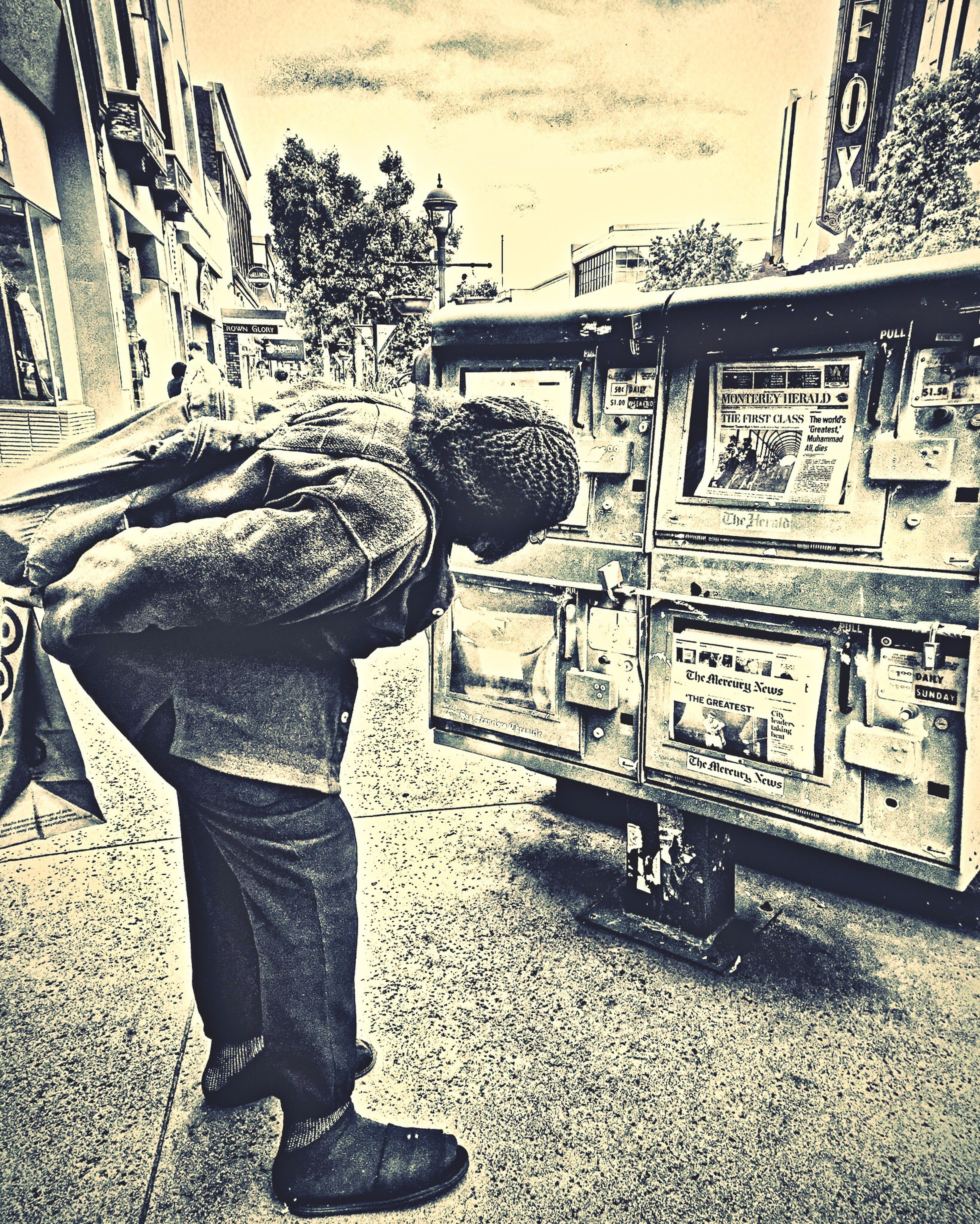 RIP Mohamed Ali 74 - old town Main St Salinas, CA in front of Dudly's Restaurant Visual Poetry My Perspective #headlines #news #newsstand #reading
