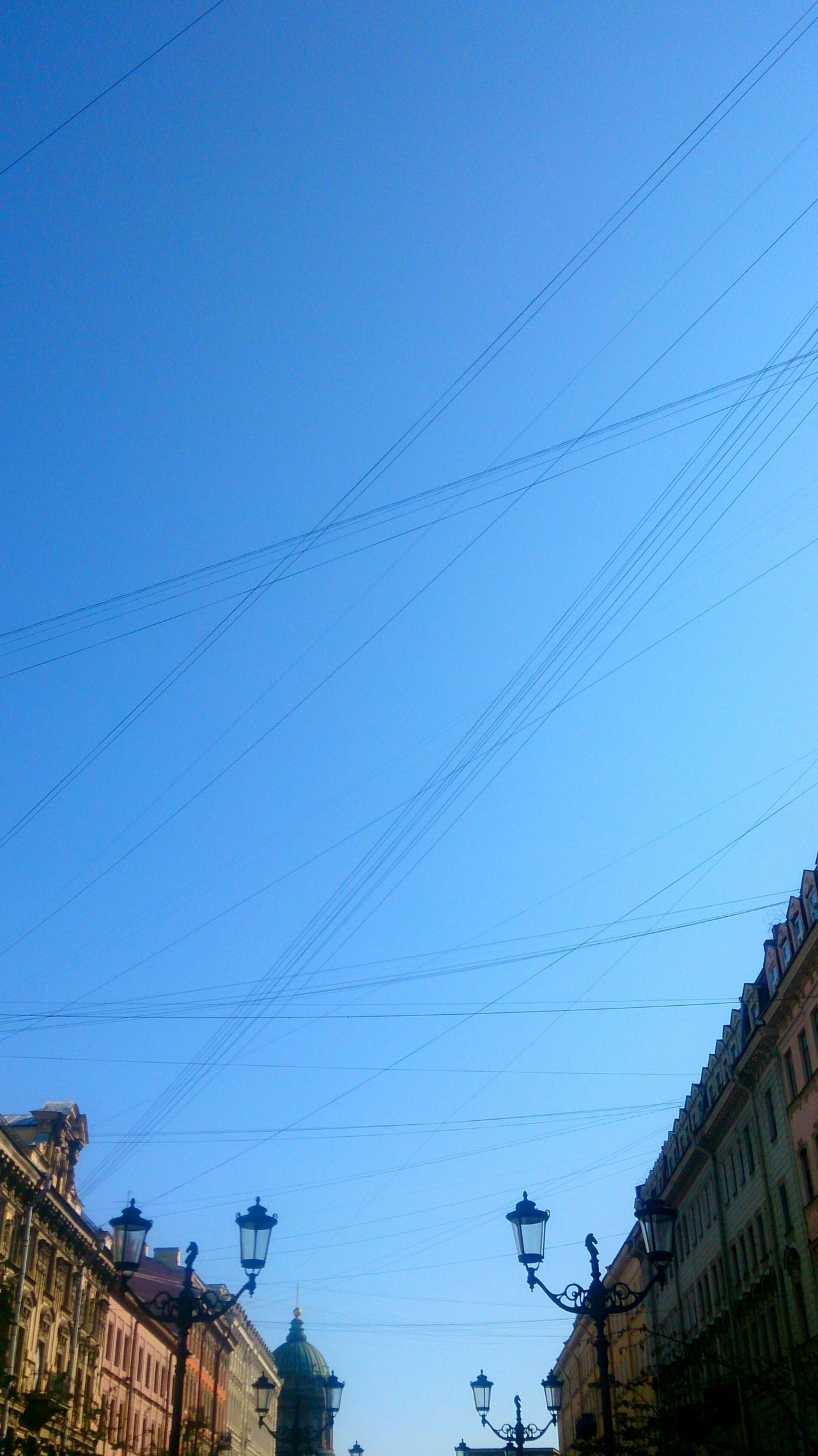 Wires over a street, Saint Petersburg, Russia. Wires Geometric Shapes Lines Simplicity Simple Saint Petersburg Russia Sony Xperia Zr Mobile Photography Cityscapes