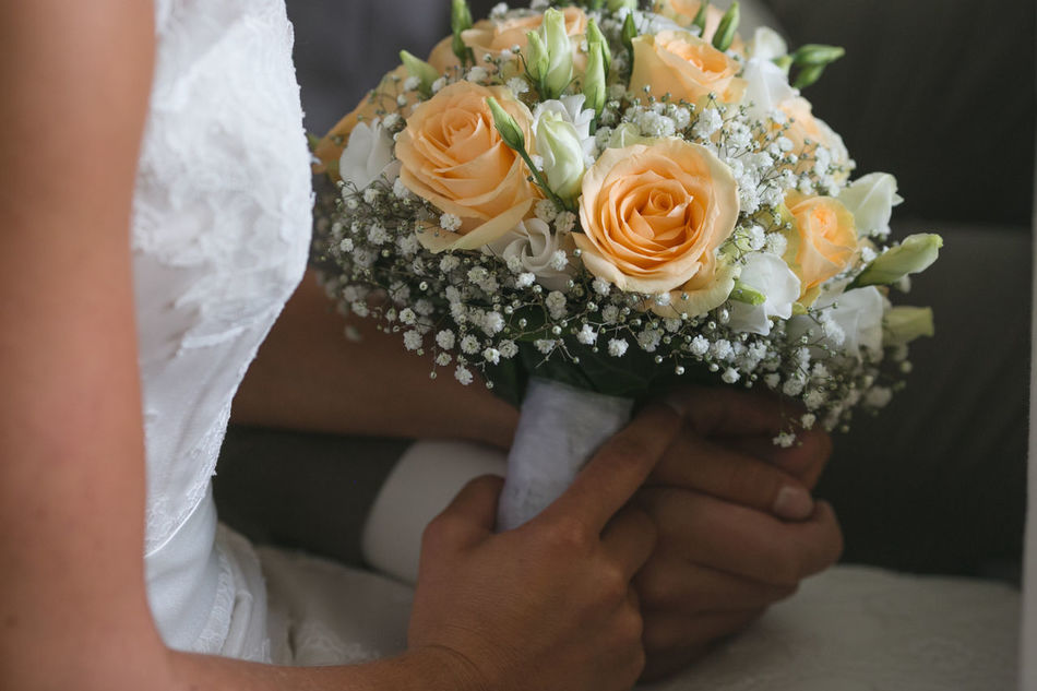 Bouquet Bride And Groom Close-up Flower Getting Married Holding Holding Hands Person Wedding