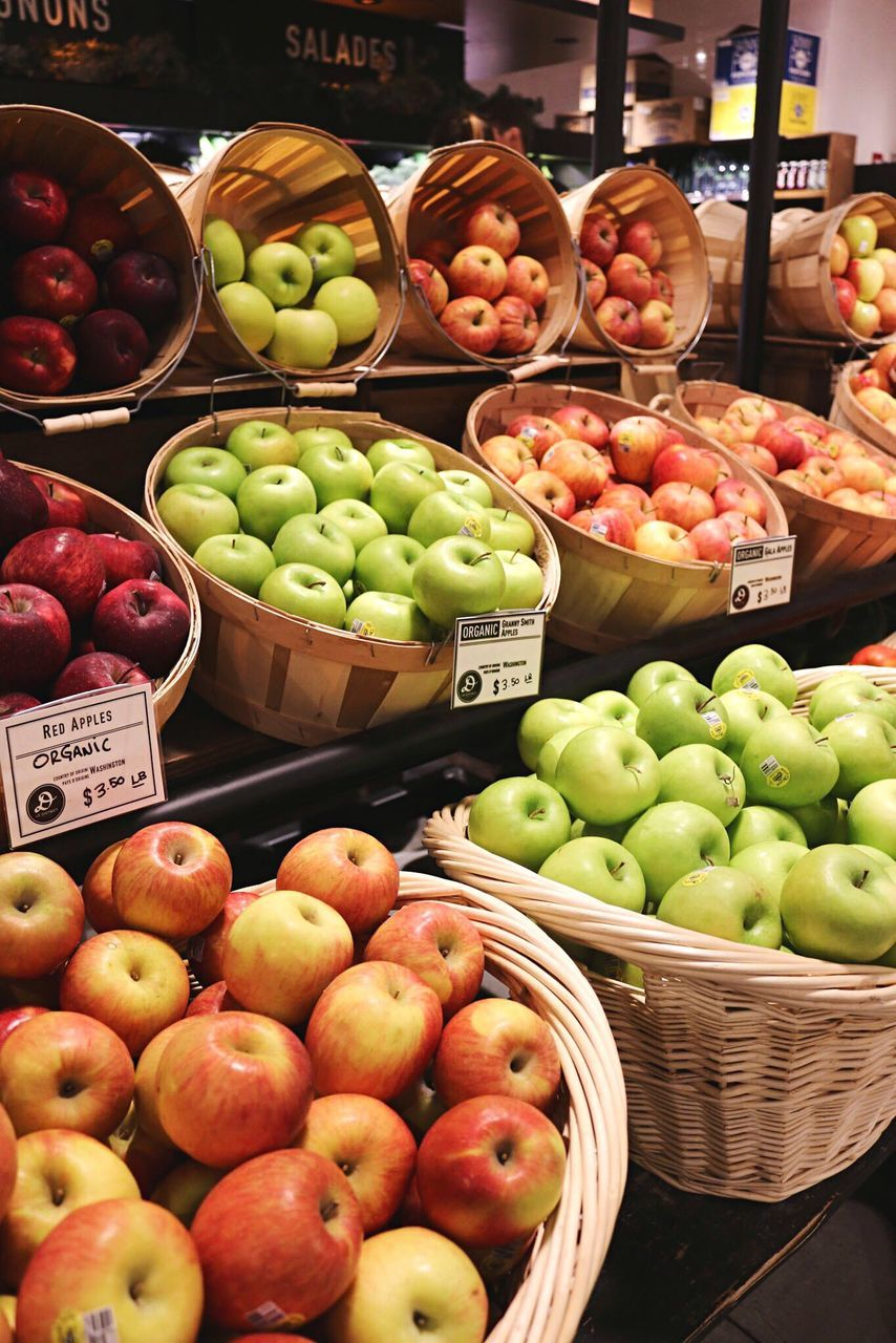 fruit, retail, market, choice, for sale, freshness, variation, market stall, healthy eating, abundance, pear, price tag, food, apple - fruit, food and drink, granny smith apple, large group of objects, day, outdoors, no people