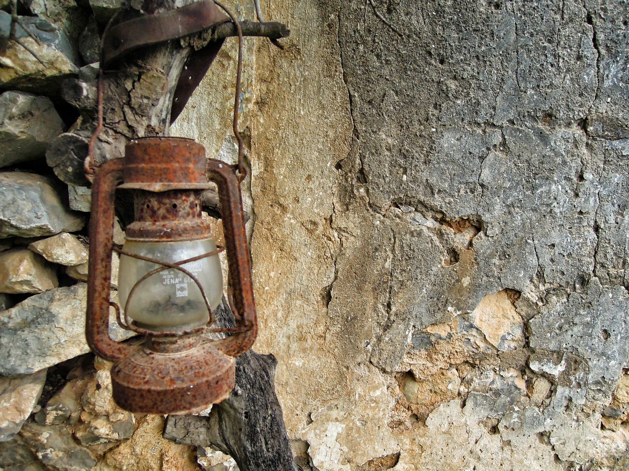 Lantern Rusty Lantern Rural Decay Stone Wall Abandoned Places
