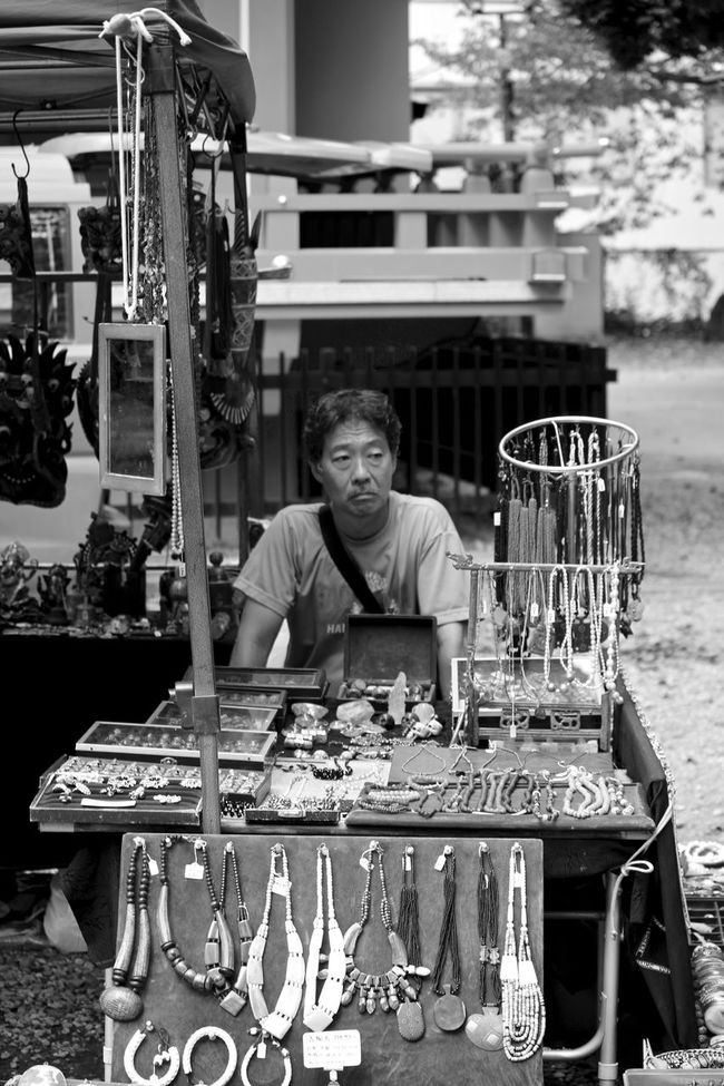 Local market in Sendagaya district, Tokyo, Japan. Blackandwhite Front View Japan Large Group Of Objects Market Mature Adult Photojournalism Place Setting Streetphotography Table Tokyo Traditonal