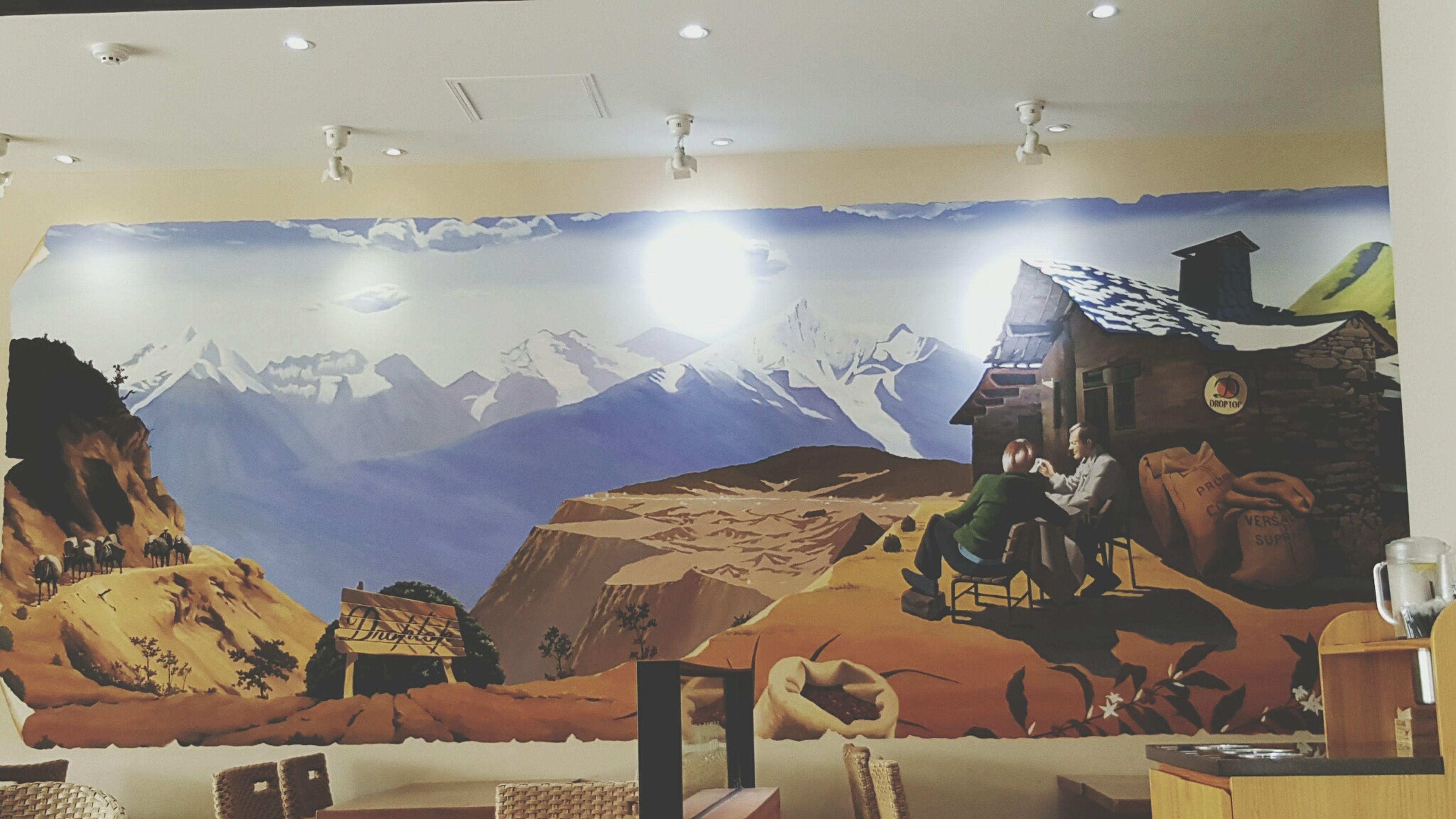 mountain, sunbeam, mountain range, modern, creativity, tranquil scene, tranquility, no people
