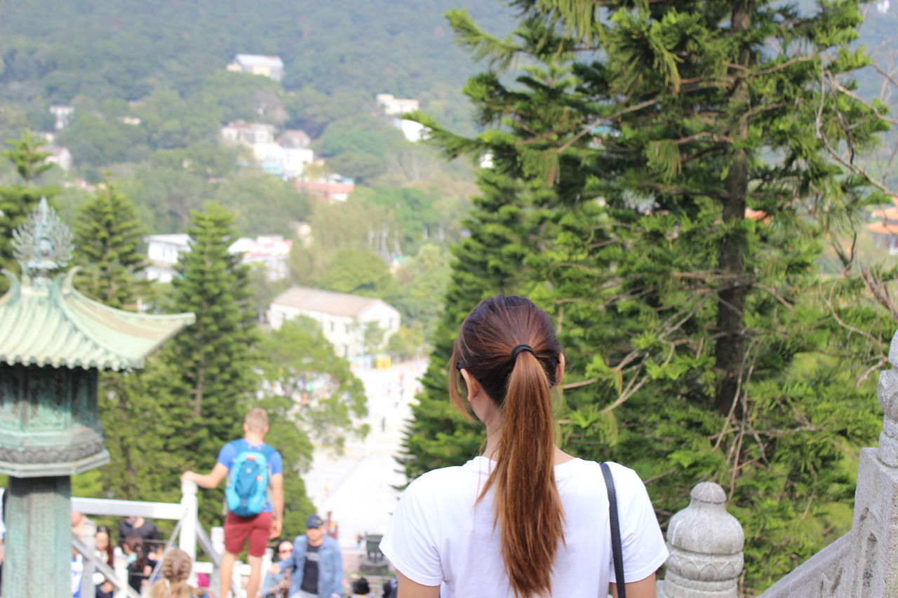 Tree Women Rear View People Adult Nature Day Young Adult Outdoors Adults Only Tian Tan Buddha (Giant Buddha) 天壇大佛 HongKong Low Angle View Cloud - Sky People And Places
