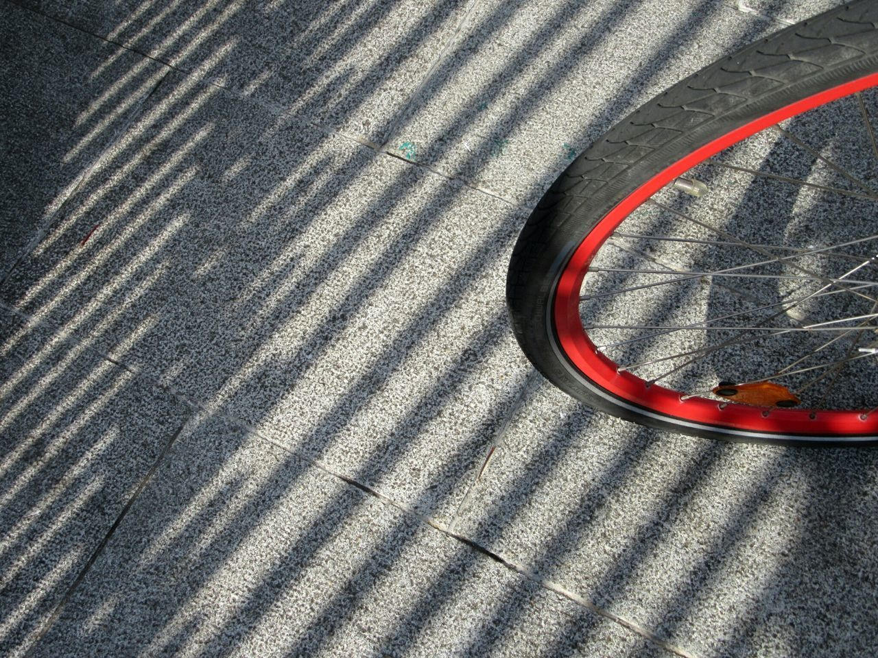 Red rimmed Close-up Part Of Transportation Reflection Surface Level Circle No People Red Extreme Close Up Full Frame Bicycle Wheel Pavement Paving Stone Shadows CyclingUnites The City Light Cork City Ireland