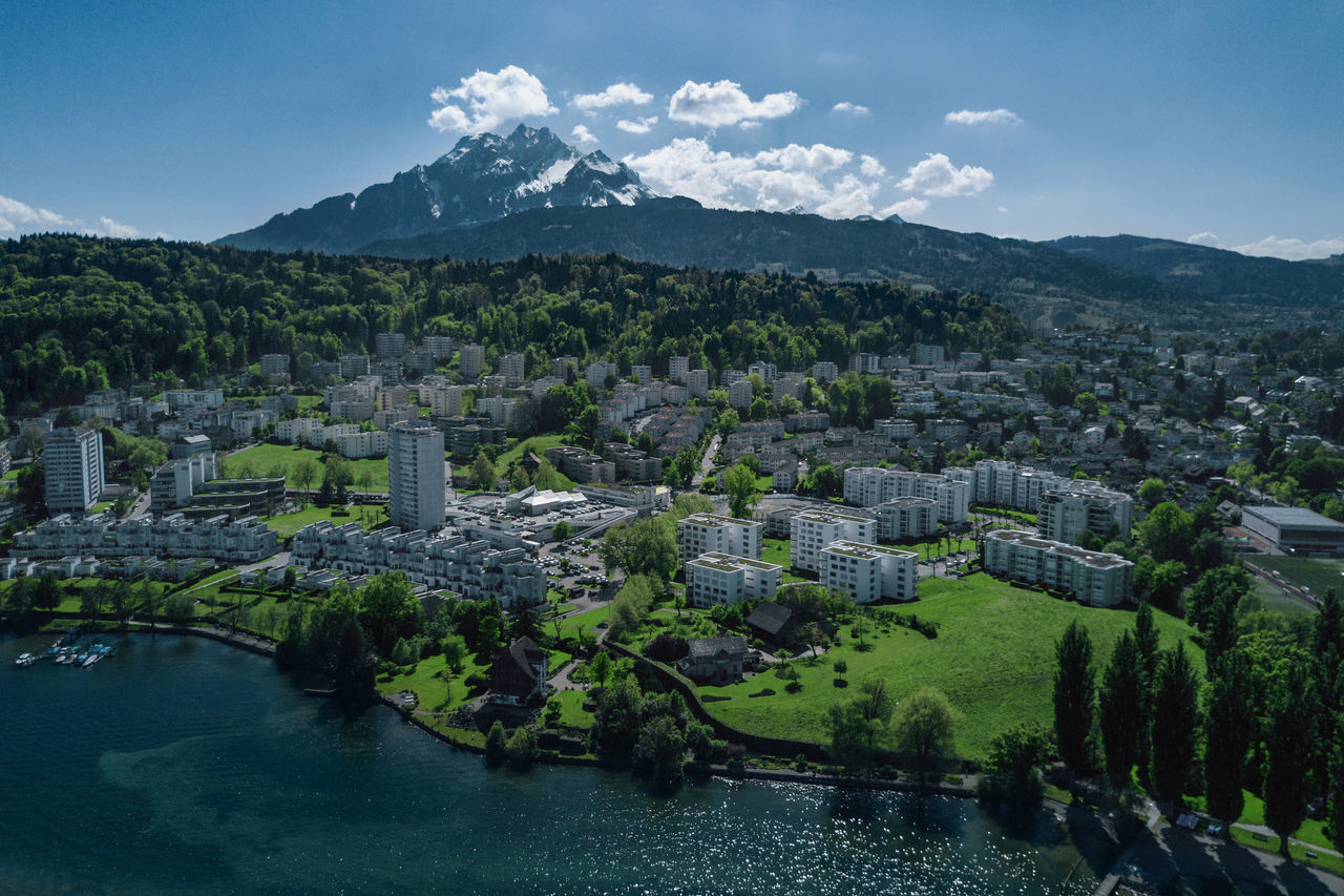 Architecture Building Exterior Built Structure Cityscape Dronephotography Housing Estate Mountain Outdoors Water