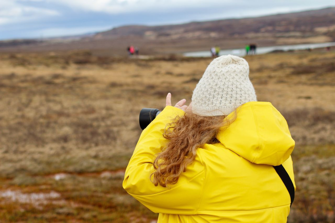 Real People One Person Rear View Yellow Focus On Foreground Childhood Leisure Activity Outdoors Day Knit Hat Lifestyles Nature Women Warm Clothing Close-up Photography Hobbyphotography Iceland Eyem Nature Lovers  Landscape The Great Outdoors - 2017 EyeEm Awards Nature