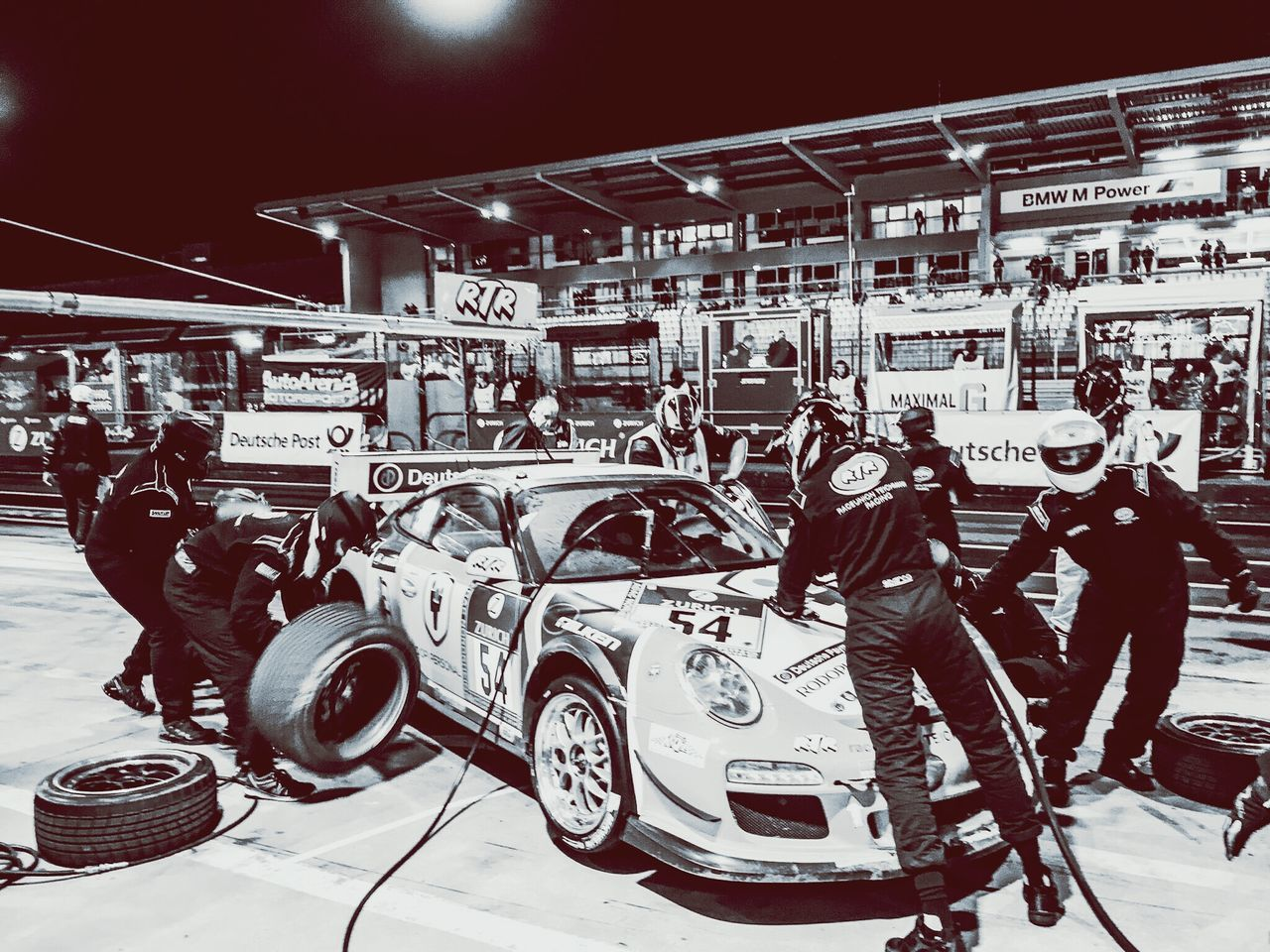 Black And White Blackandwhite Photography Racing Racecar Porsche Nurburgring 24h Race 24h Blackandwhite Boxengasse