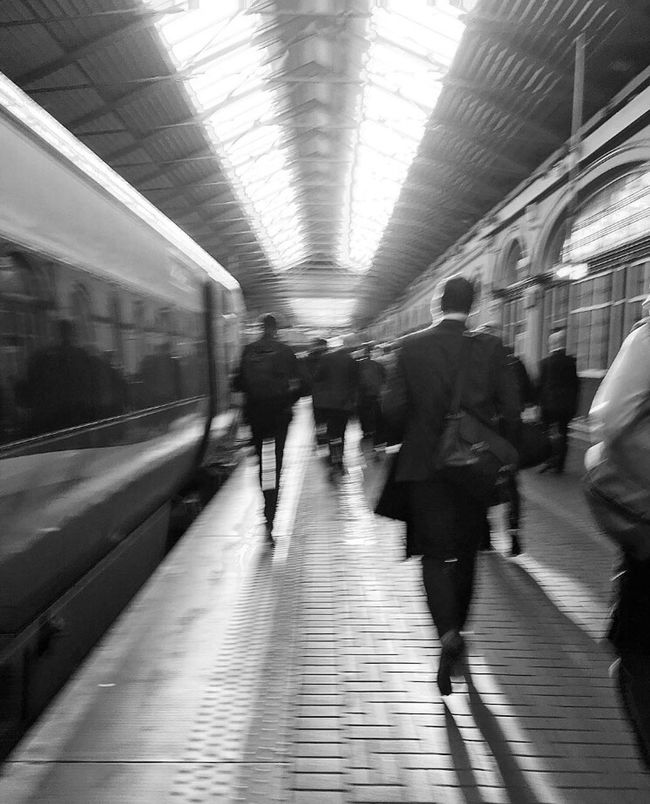Rush hour. Morning Morningrush Publictransportation Publictransport Peoplewatching Rush Hour Rushhour Train Station Station People Photography People Blackandwhite Photography Blackandwhite EyeEm Best Shots - Black + White IPhone IPhoneography Movingshot Light Lights Straightlines
