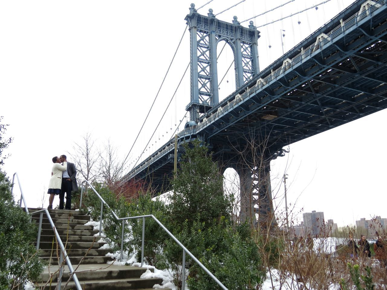 Bridge - Man Made Structure Sky Built Structure Mature Adult Connection Suspension Bridge Outdoors Engineering Mature Men Rear View Full Length Travel Destinations Day Men Architecture Tree People One Person Young Adult Adult New York Brooklyn Valentine's Day  Valentine Love