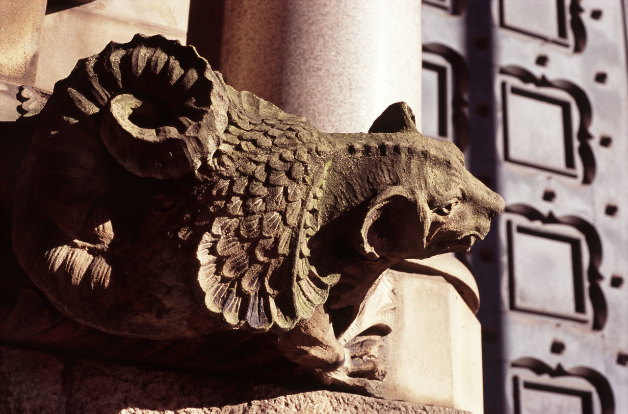 Stone Decoration, Minshull Street Crown Court, Manchester UK Animal Representation Building Close-up Creepy Cultures Dragon Gargoyle Manchester UK Minshull Street Crown Court Sculpture Spooky Stone Decoration Stone Gargoyle Ugly