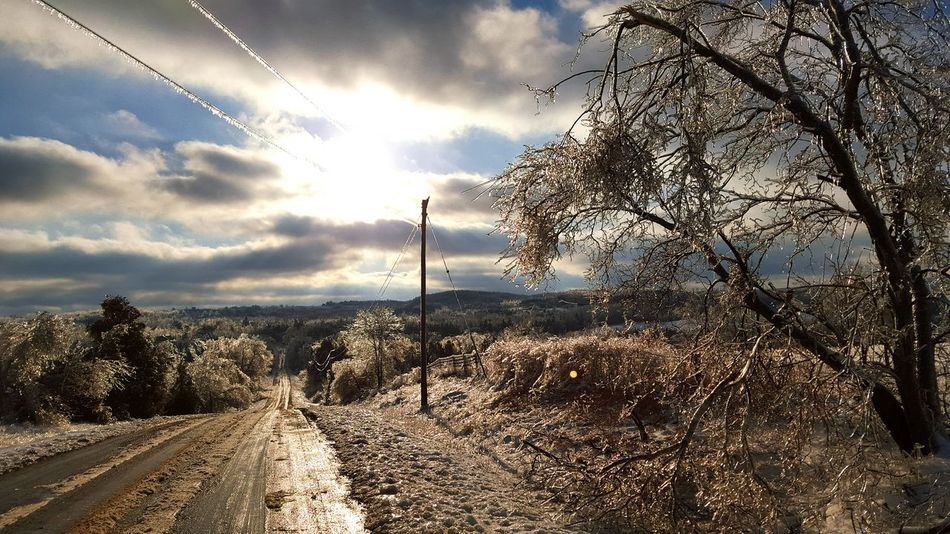 Dramatic Sky Sunbeam Dirtroads Ice Storm Outdoors Canadianwinter Roadside Eye For Photography EyeEmNewHere