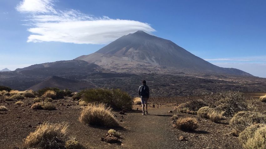 Mountain Nature Volcano Rear View Beauty In Nature Landscape Real People Scenics Sky Volcanic Landscape Day Outdoors Tranquil Scene Leisure Activity One Person Men Volcanic Crater Adventure Mountain Range Lifestyles Tenerife Be. Ready.
