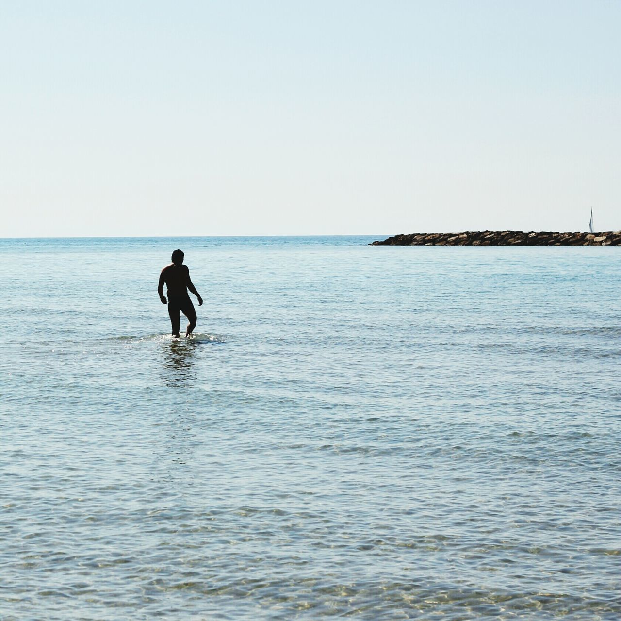 Beautiful stock photos of silhouette, Ankle Deep In Water, Clear Sky, Copy Space, Day