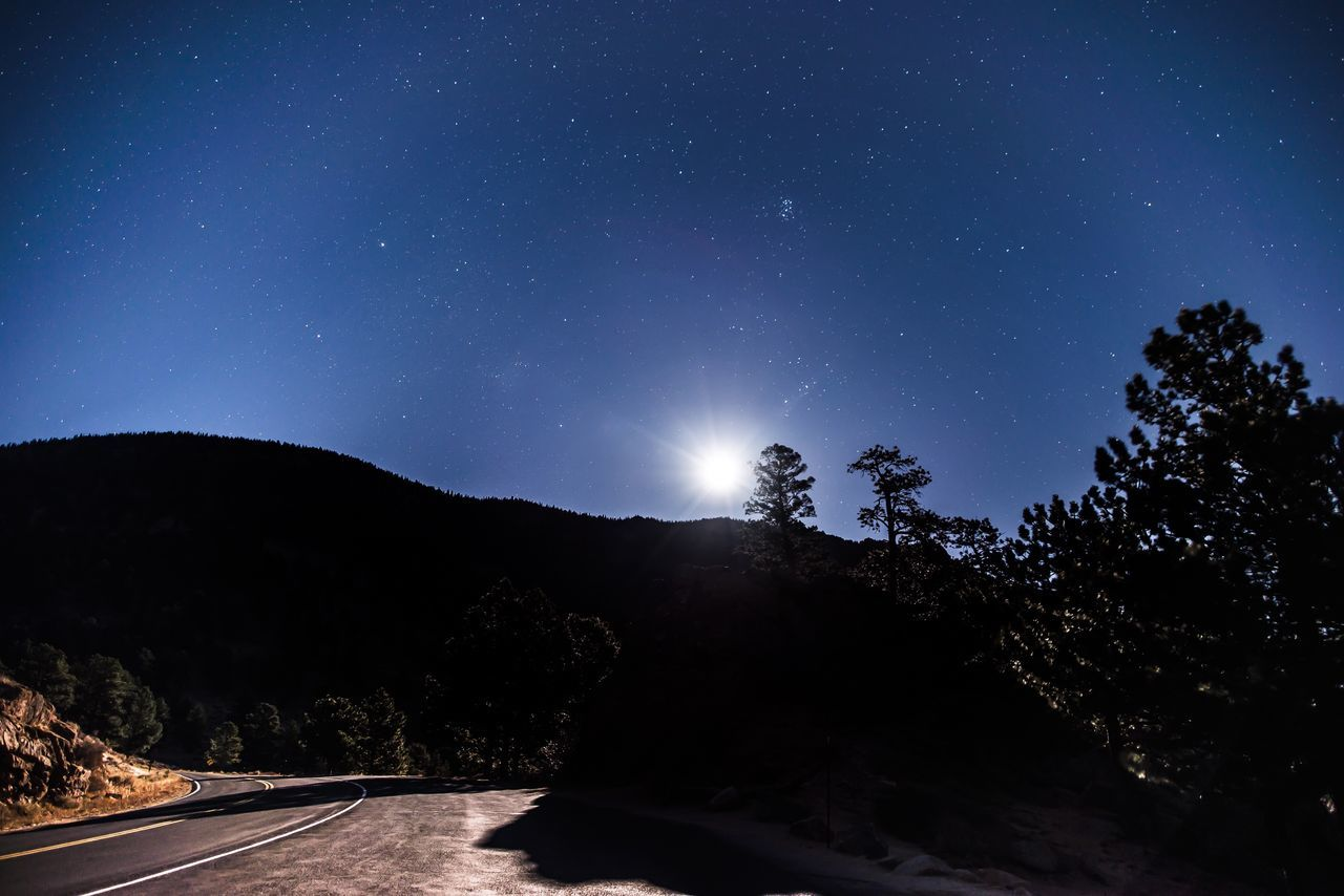 Night Tree Nature Silhouette Outdoors Road No People Beauty In Nature Sky Tranquility Scenics Star - Space Clear Sky Illuminated Mountain Astronomy Galaxy Colorado Photography Road At Night
