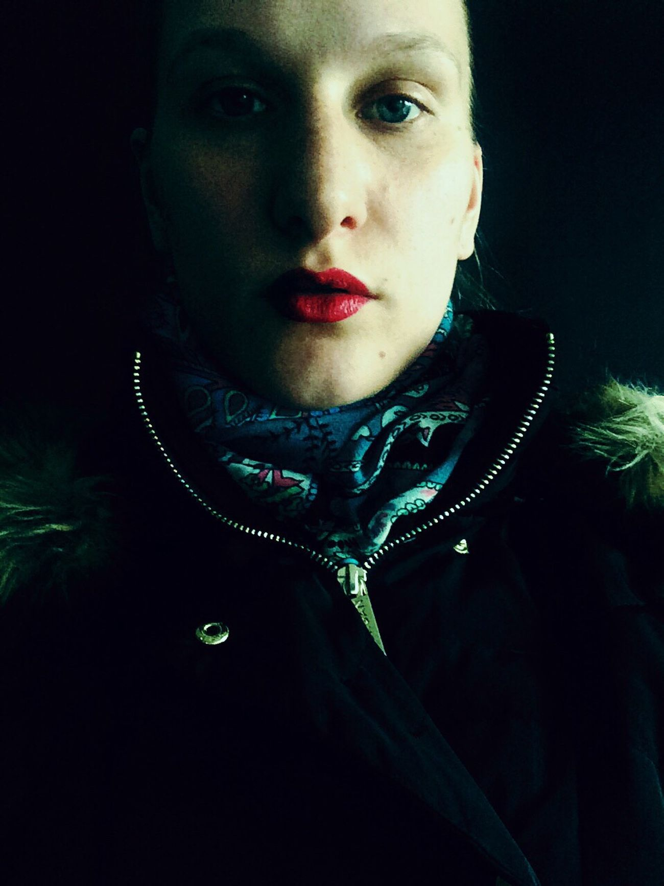 Self Portrait Portrait Female Iphonography Iphoneonly Dark Zipper Red Lips Sidelight Face Direct View