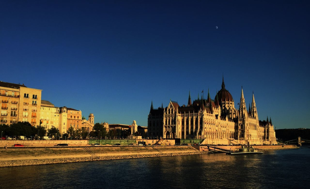 Parliament Sight Sightseeing Sky Moon Danube Ship View Anniversary Bridge Afternoon Blue Sky Perfect Sky Special View My Best Photo 2015