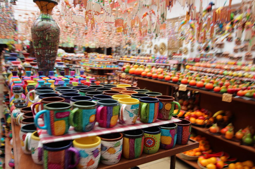 Crafts Market Abundance Art Ceramic Ceramic Art Ceramic Art Craft Ceramics Clay Clay Art Clay Work Collection For Sale Handmade Indoors  Large Group Of Objects Market Market Stall Multi Colored Pottery Raquira Retail  Shelf Variation