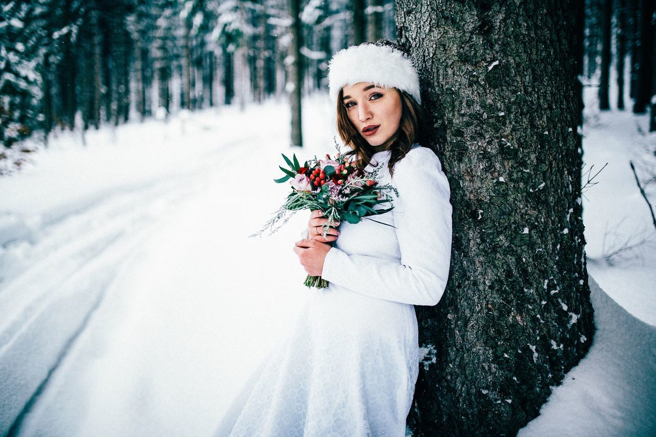 - Snow Bride - Flower Portrait Beauty Wedding Bride Nature Uniqueness Forest EyeEm Best Shots Portrait Of A Woman Winter Outdoors Looking At Camera Snow Winterwonderland Wreath Beautiful Woman Females Lifestyles Young Adult One Person Cold Temperature Blond Hair Beauty In Nature Weddings Around The World
