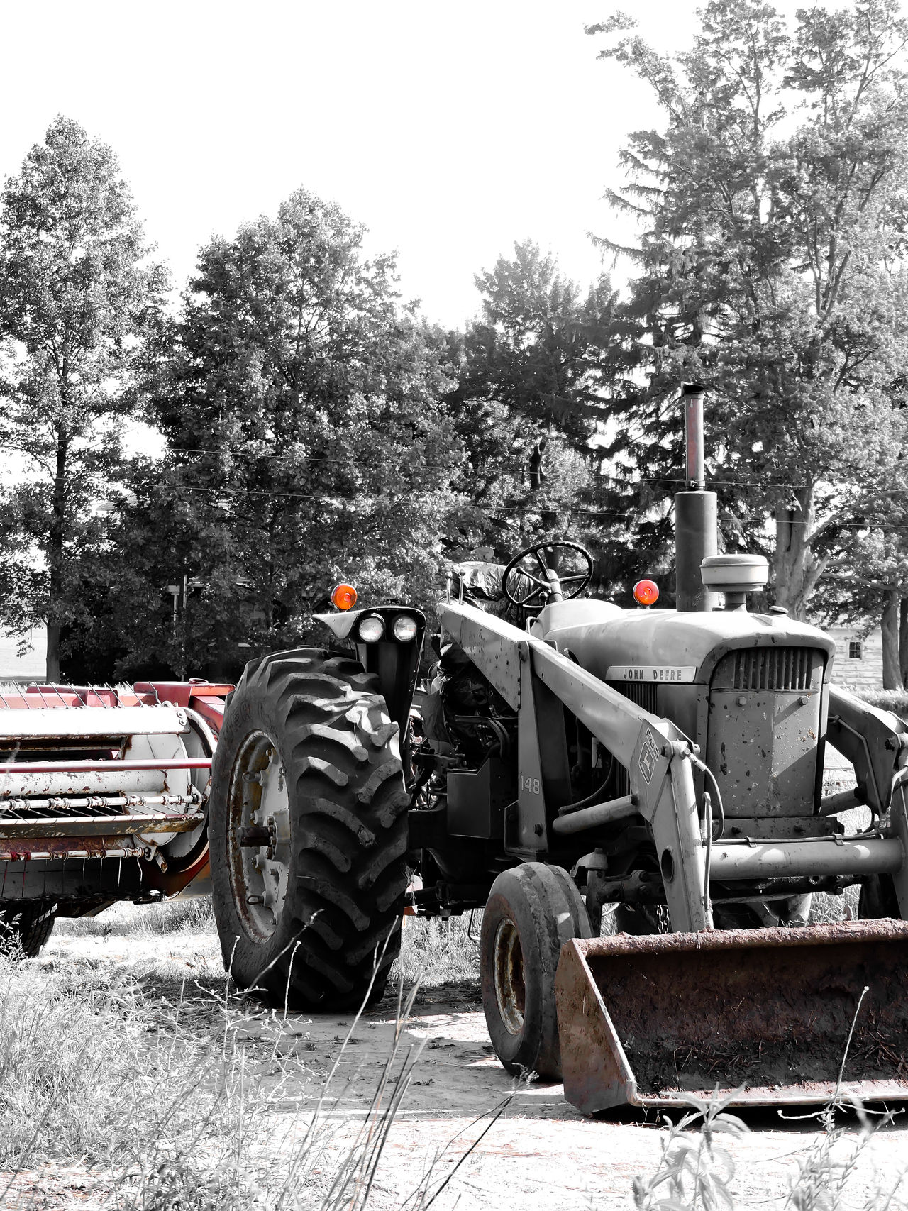Tractor Haybine Farm Farm Life Country Country Life Orange Beauty Black And White Natures Diversities Tree Outdoor Life Outdoor Photography 2016 EyeEm Awards Milford, IN