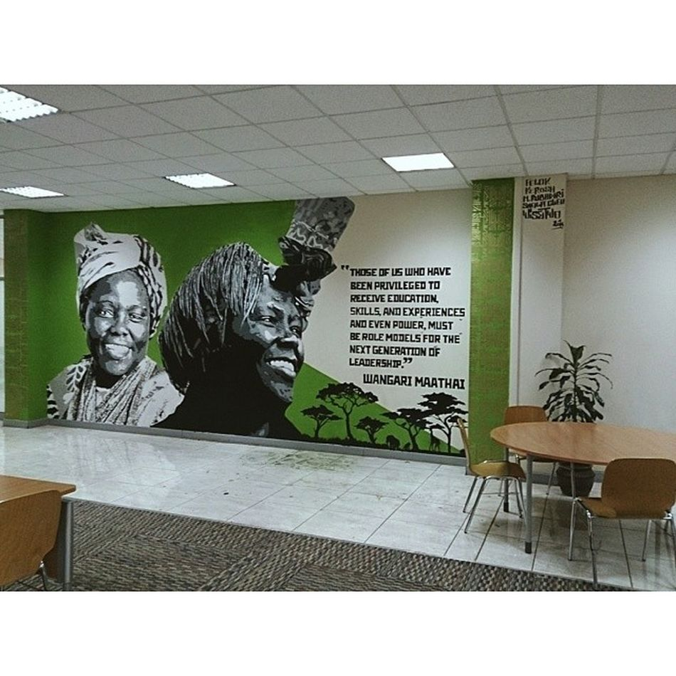 """My second mural of the mural series at the United States International University Africa (USIU) Library. Thank you to the Vice Chancellor Professor Freida Brown and my artistic team of Kerosh, Sheila Cleo, Mabel Rubadiri and Felok. """"Those of us who have been privileged to receive education, skills and experience, and even power, must be role models for the next generation of leadership."""" Wangari Muta Maathai was a Kenyan environmental and political activist and A Nobel Peace prize Laureate. Power Wisetwo Nairobi Kenya USIU Africa graffiti muralart murals stencils stencilart education Graffitigoesintellectual"""