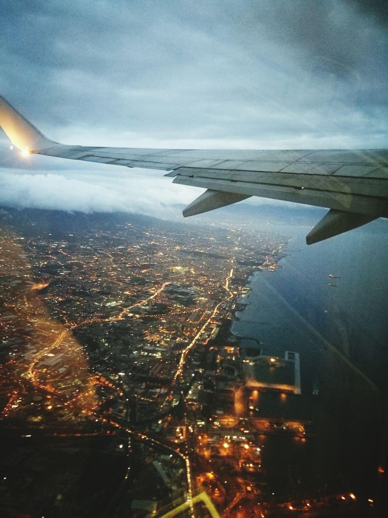 Napoli ❤ Aerial View City Airplane Illuminated Sea Night Love Naples