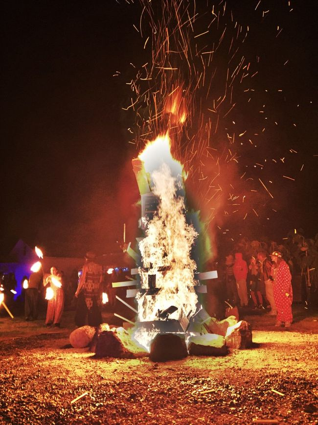 Night Illuminated Flame Burning Celebration Glowing Outdoors Bonfire Firework - Man Made Object HDR Vibrant Color