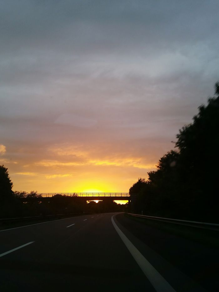 Nature Sunset on highway A 28