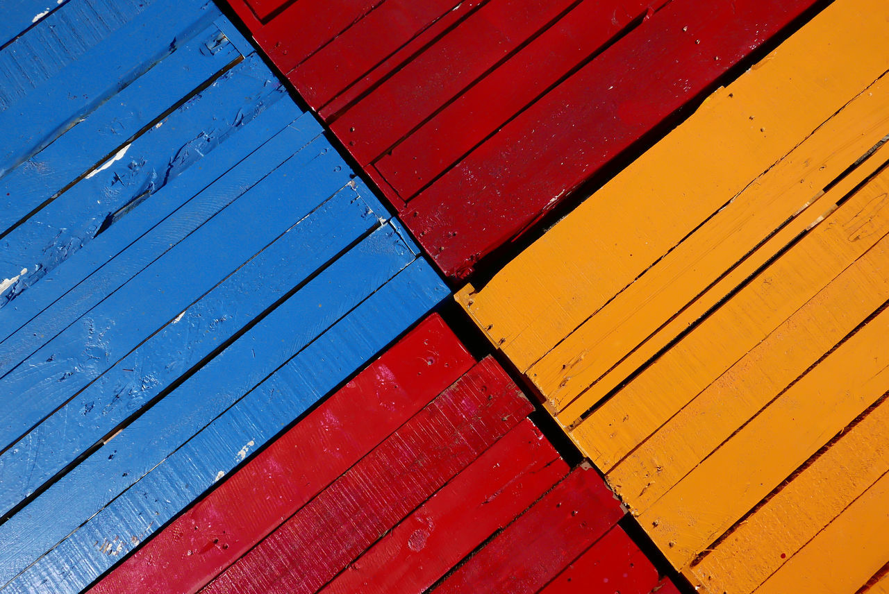Full Frame Shot Of Multi Colored Wooden Footpath