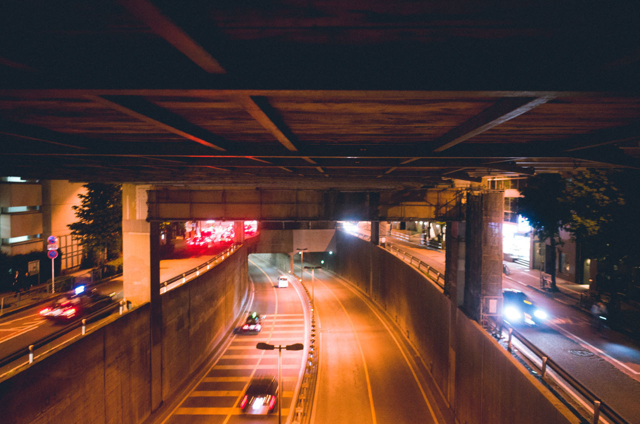 A Bird's Eye View Architecture Atmospheric Mood Bridge - Man Made Structure Built Structure Car City EyeEm Best Shots Illuminated Land Vehicle Light And Shadow Mode Of Transport Motion Night Outdoors Road Speed Street Traffic Transportation Urban Landscape