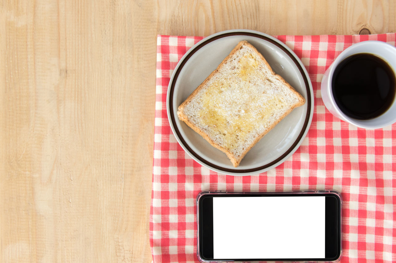 Breakfast Coffee Copy Space Red Sugar Blank Ground Bread Digital Fresh Nakip, Plaid Smart Phone