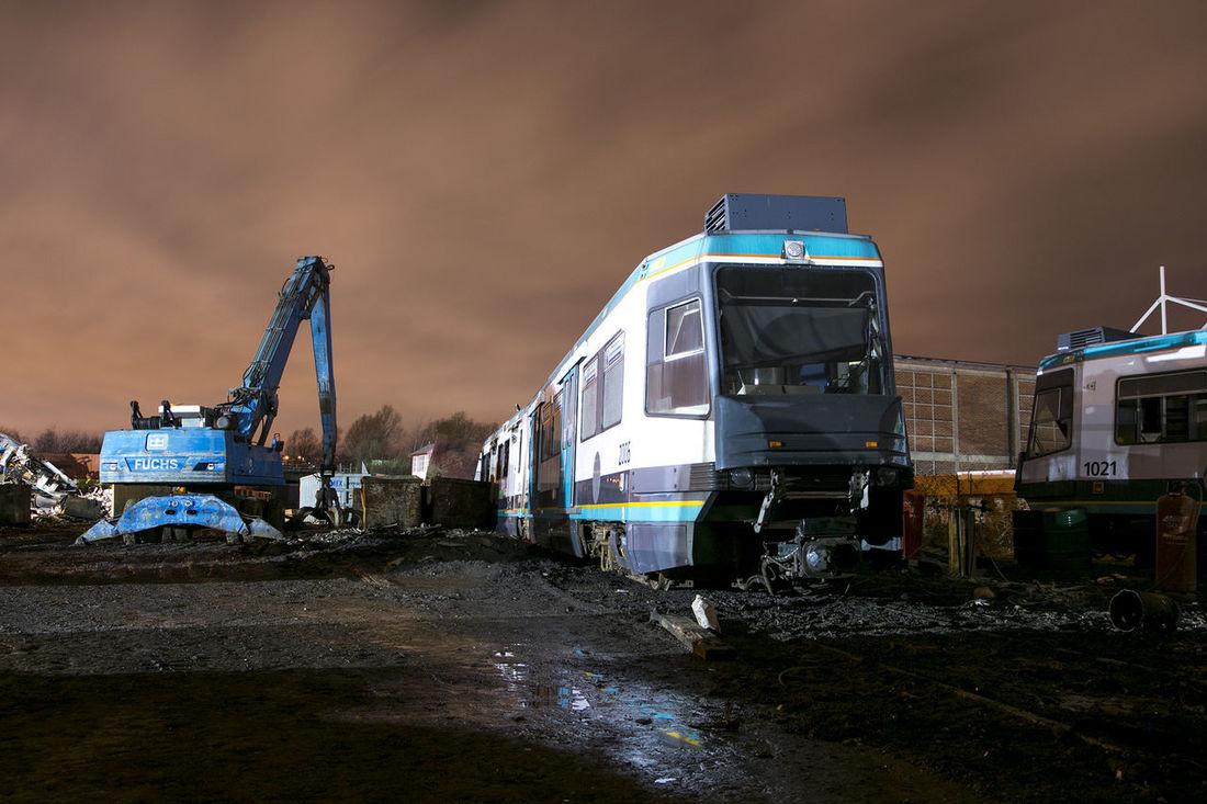 Manchester Metal Metrolink Night Obsolete Redundant Scrap Scrapyard Train Tram Withdrawn From Service