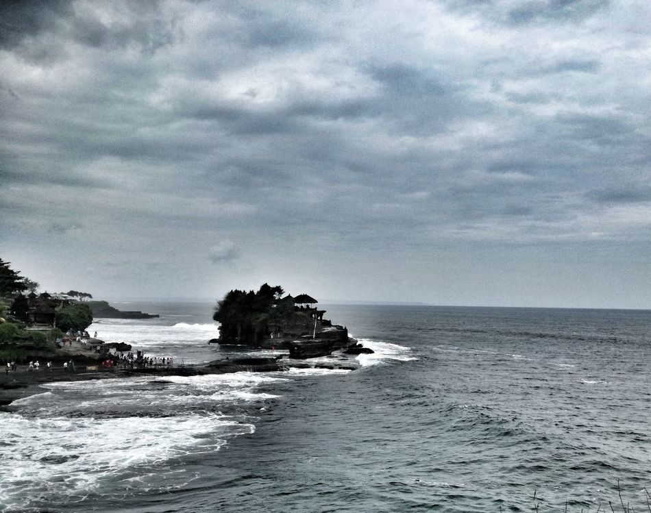 Sea Nature Sky Water Tranquility Beach No People Cloud - Sky Tree Beauty In Nature Outdoors Day Scenics Bali Beauty In Nature Tanah Lot Temple Religion Landscape Pacific Islands Travel Destinations Extreme Weather Tropical Climate EyeEm Selects Horizon Over Water