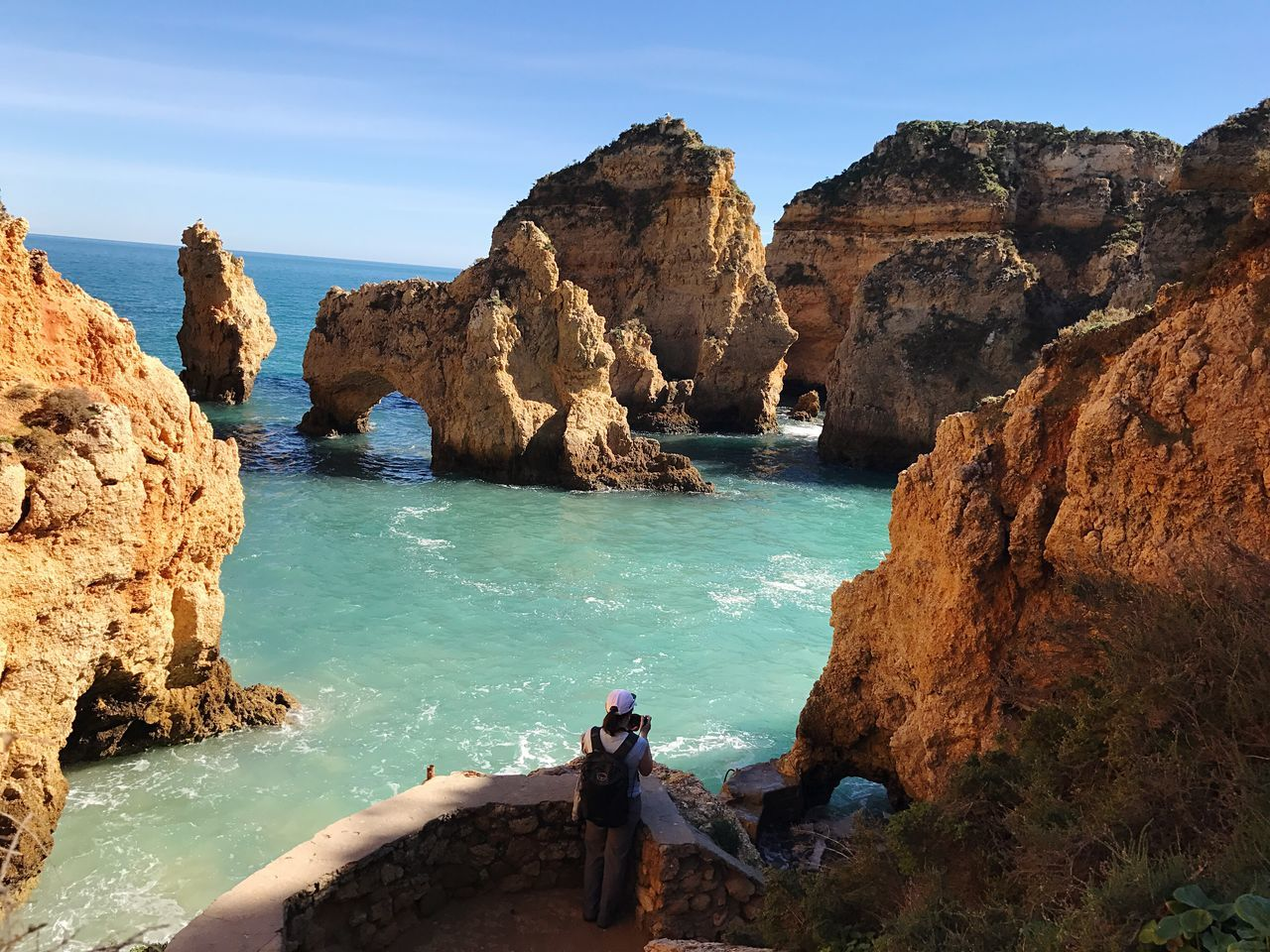 Ponta Da Piedade Lagos Algarve Portugal Sea Rock Formation Water Rock - Object Beauty In Nature Scenics Tranquility Nature Blue Cliff Sky Real People Day Tranquil Scene Geology Outdoors Idyllic Travel Destinations Horizon Over Water Vacations Tourism Tourist