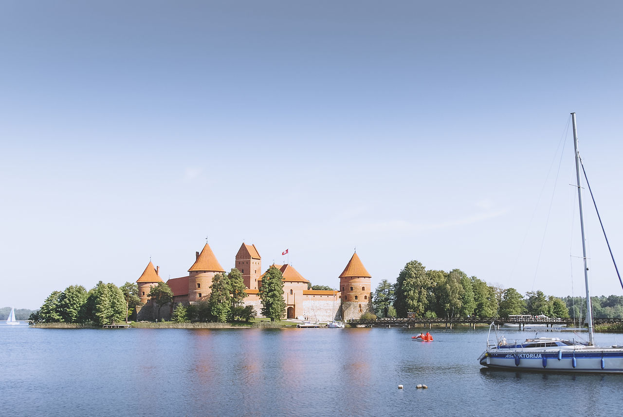 clear sky on Trakai Island Castle, Lithuania Architecture Blue Building Exterior Castle Clear Sky Floating On Water Island Lake Lake Galvè Lithuania Lithuanian Outdoors Reflection Sky Trakai Travel Travel Destinations Water