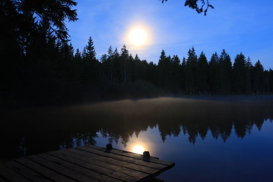 Sky Lake Water Beauty In Nature Scenics Moon Tranquil Scene Reflection Lake Reflection Nature Tree Idyllic Tranquility Outdoors Sun No People Silhouette Clear Sky Astronomy