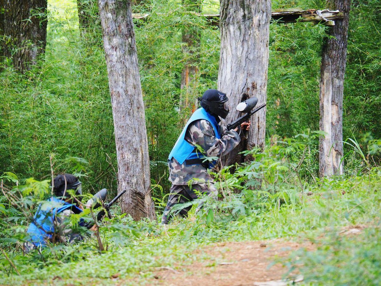 Team Building Activity War Simulation Game Team Activity Outdoor Activity Paintball Gun Paintball Weapon Handgun Gun Camouflage Clothing