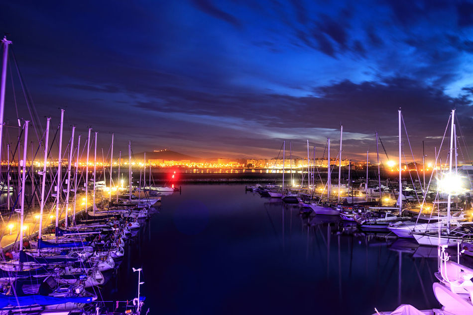 View from the Sunborn Yacht at night overlooking the Ocean View Harbour Boat Gibraltar Illuminated Mode Of Transport Moored Nautical Vessel Night View Nightphotography Ocean View Ocean_village Sea Sky Water Eyeemphotography Landscape Landscape_Collection