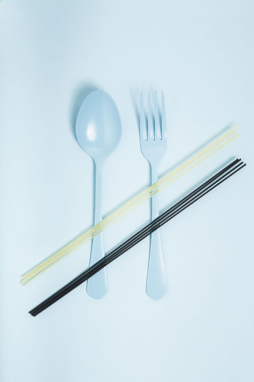 Abstract Background Black Blue Closeup Color Colors Concept Cutlery Eating Food Fork Isolated Italian Food Minimalist Pasta Raw Saturated Service Shadow Silverware  Spaghetti Spoon Surreal Utensil