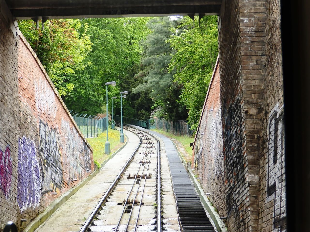 Old Town, Prague Beauty In Nature Cable Car Cable Car Tracks Day Diminishing Perspective Empty Green Color Growth Long Narrow Nature No People Old Town Outdoors Plant Prag Prague The Way Forward Tranquility Tree Vanishing Point Walkway